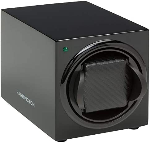 BARRINGTON Automatic Watch Winder for 1 Watch - Compact, Quality, Single Watch Winder Box, Super Quiet Motor, Battery Powered and AC Adapter - Barrington, British Watch Winder Company - Since 2009