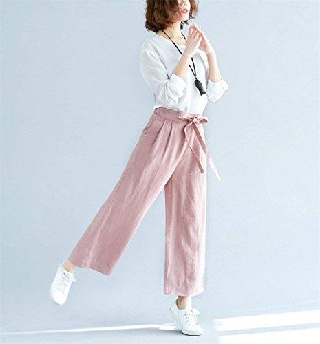 BOLAWOO Fashion Cinghietti Culotte Pantalone Baggy Mode Tempo Pantaloni Waist Rosa Eleganti Estivi marca Ragazze Pantalone di Monocromo Donna Libero High xwr8Yx