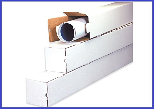 BoxYeah 25 Pack - 3'' and 5'' White Square Mailing Shipping Tubes - 14 Sizes To Choose - Example (3 x 3 x 43)