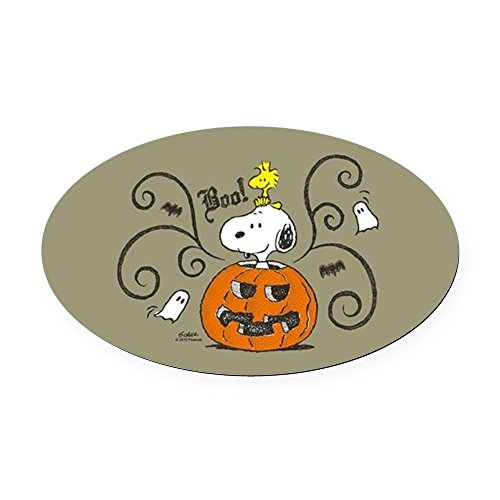 CafePress Peanuts Snoopy Sketch Pumpkin Oval Car Magnet, Euro Oval Magnetic Bumper Sticker