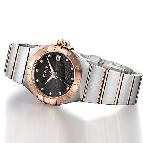 (Women's Automatic Wrist Watch ROCOS Rose Gold Dress Watch with Stainless Steel and White Dial Ladies Crystal Analog Watches Luxury Classic Elegant Gift #R1101L (Black))