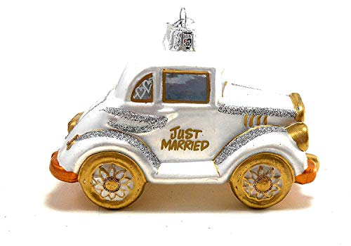 Kurt Adler Noble Gems Just Married Wedding Glass Ornament (Wedding Car)