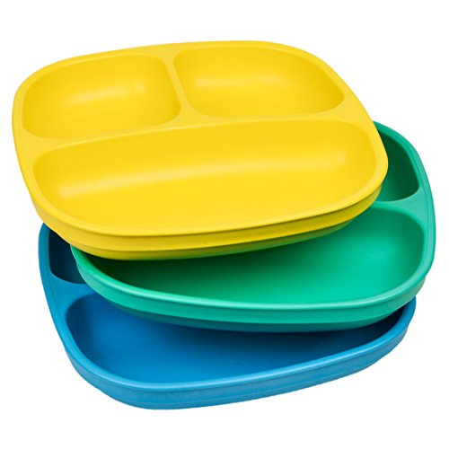 Re-Play Made in USA 3pk Divided Plates with Deep Sides for Easy Baby, Toddler, Child Feeding – Yellow, Aqua, Sky Blue (Surf)