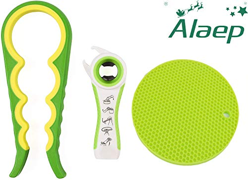 Alaep Jar Bottle Soda Can Opener - Silicone Hand Gripper Aid - Large Openers Set for Weak Hands and Seniors with Arthritis - Bottle Squeeze Lids and Rubber Grip