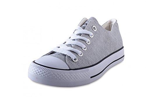 Mixmatch24 Damen Canvas Leinwand Sneaker Basic Low in verschiedenen Farben - Zapatos de cordones de lona para mujer Lt. Grey