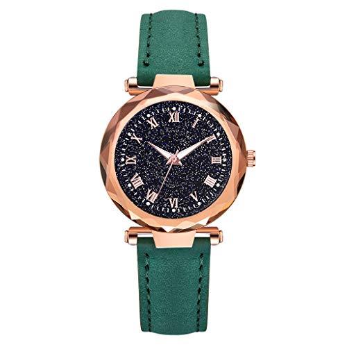 OutTop(TM)) Women's Girls Classic Rhombus Glass Starry Dial Leather Band Analog Dial Quartz Wrist Watch Luminous Belt Dress Watch (Green)