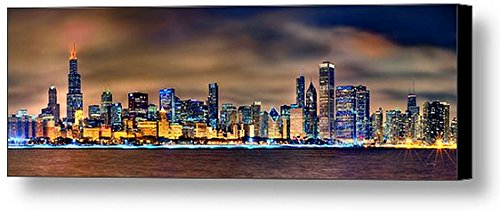 CANVAS Chicago Skyline at NIGHT COLOR 16 inches x 48 inches City Downtown Photographic Panorama Print Photo Picture
