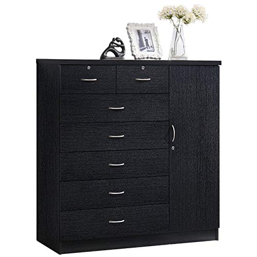 Pemberly Row Tall 7 Drawer Chest with 2 Locking Drawers and Garment Rod or Extra Storage in Black by Pemberly Row