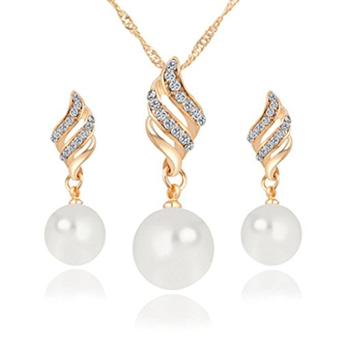 Princess Bridal Pearl Spiral Shaped Rhinestones Crystal Stud Earrings Necklace Set by Kimloog (Gold)