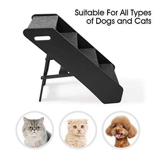 JAXPETY Black Foldable 4 Levels Dog Stairs Adjustment Wide Pet Steps for Dogs and Cats