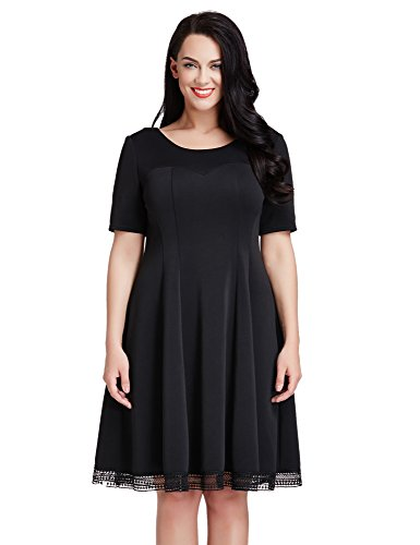 LookbookStore Womens Plus Size Black Crochet Hem Skater A-line Knee Length Dress 2X
