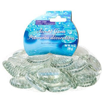 (Greenbrier Glass Gems for Vase Accents and Crafting (2 Bags, Jumbo Clear Gems) )