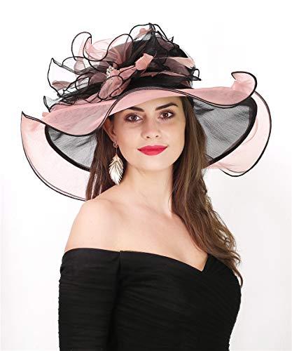 Lucky Leaf Women Fashionable Organza Church Hat Wedding Party Kentucky Derby Fascinators Cap -