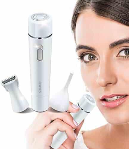 Facial Hair Removal for Women, 3 in 1 Multi-functional Eyebrow Trimmer, Facial Razor, Bikini & Legs Hair Remover, and Epilator for Women 2018 MS-026 (White)