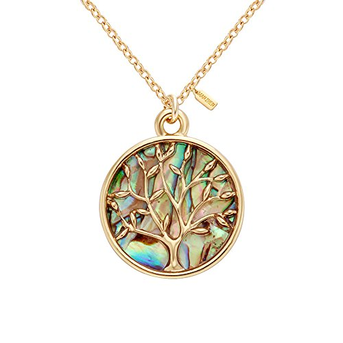 Tree Necklace (MANZHEN Gold Rose Gold Silver Transparent Natural Abalone Shell Tree Charm Pendant Necklace18'' (gold))