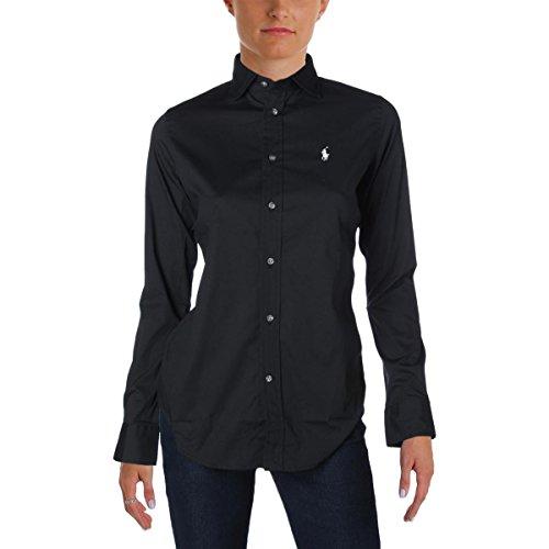 Polo Ralph Lauren Womens Logo Slim Fit Button-Down Top Black 6 (Top Lauren Polo Ralph)