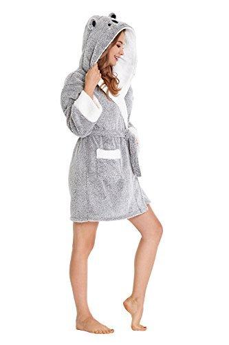 TIMSOPHIA Robes for Women Bathrobe Robe with Koala Hood Fun Robes for Women(Gray, M)