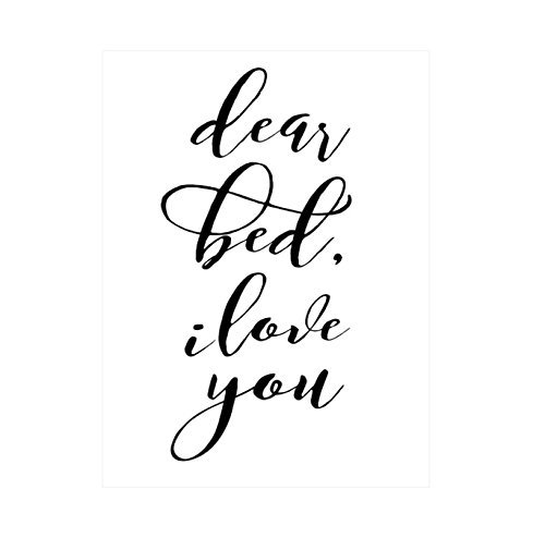 Dear Bed I Love You Quote Poster Print Art 11 X 14 Inches Black