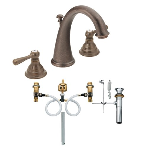 (Moen T6125ORB-9000 Kingsley Two-Handle High Arc Bathroom Faucet with Valve, Oil Rubbed)