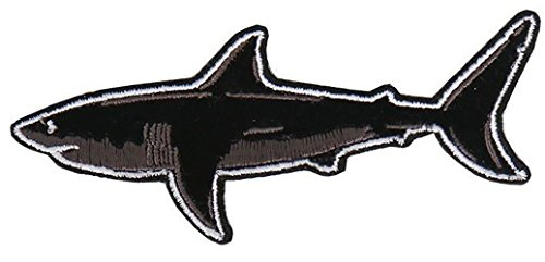 """UPC 638267534633, [Single Count] Custom and Unique (4.0 Inch) """"Ocean Life"""" Great White Shark Iron On Embroidered Applique Patch {Black, Gray and White Colors}"""