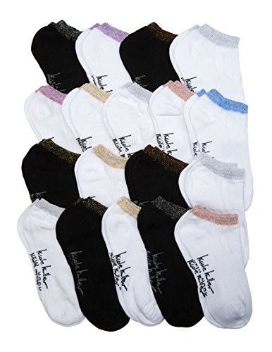 18 Pack Nicole Miller Ankle Socks (Shoe Size 5-9, Lurex 1)