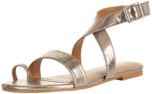 Aerosoles Women's Shortener Flat Sandal, Silver Multi, 10.5 M US