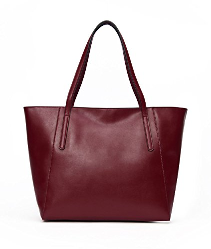 CHERRY CHICK Large Capacity Genuine Leather Tote Bag Purses Soft Hot(Burgundy-9817)