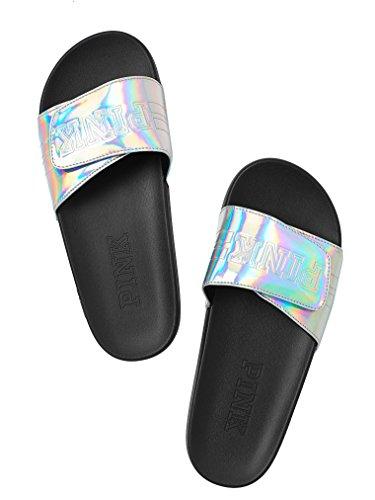 Pink Crossover - Victoria's Secret PINK Crossover Comfort Slide Sandals Shoes Silver Iridescent L