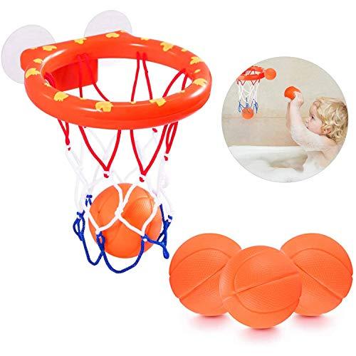 Drôles De Jeux JulyPanny Bath Toy Basketball Hoop & Balls Set with 3 Balls and Powerful ,Easy to Install,Bathroom Slam Dunk & Fun Shooting GameSucker for Kid & Toddler Bath Toys Birthday Gift