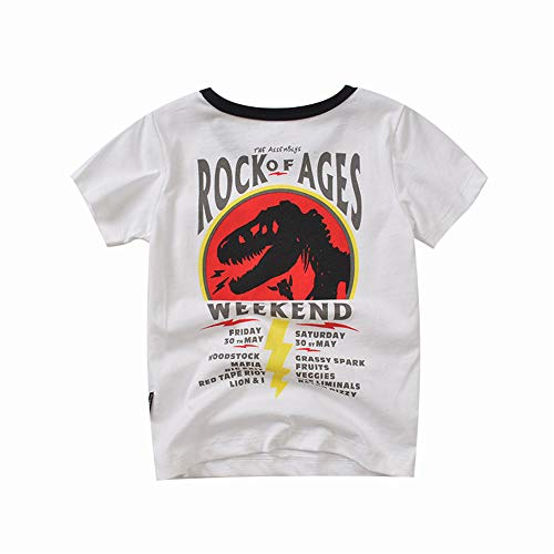 Richingfu Jurassic World Boy Dinosaur T-Shirt Top Cool Save Dinosaur Round Neck Pocket Short Sleeves (White, 140cm)