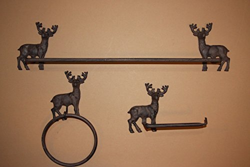 Deer Hunter Rustic Bath Decor, Towel Bar Towel Ring TP Holder Bundle -3 Items ~ (Cabin Bar Towel)