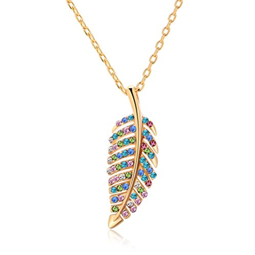 Gorgeous Jewelry Leaf Shape Gold Plated Nice Blue and Color Diamond Accented Charming Pendant Necklace