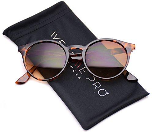 WearMe Pro Classic Small Round Retro Sunglasses, Tortoise Frame/Brown Lens