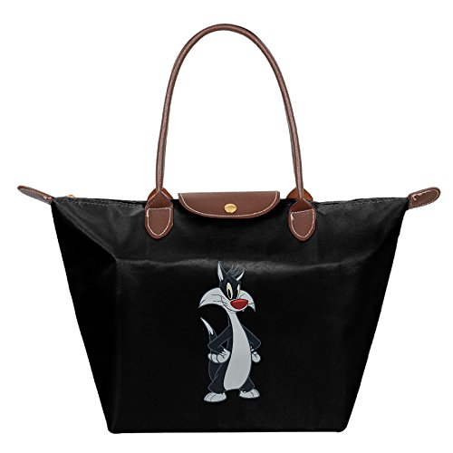 Women's Waterproof Nylon Foldable Large Tote Bag, Sylvester The Cat Looney Tunes Shopping Shoulder Handbags Black (Looney Tunes Handbag)