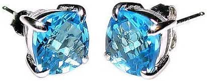 Elena: 6.50ct Cushion-cut Simulated Blue Topaz Basket Set Stud Earrings 925 Sterling Silver, 0182