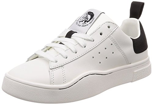 (Diesel Women's S-Clever Low W-Sneakers, White/Black, 10 M US)