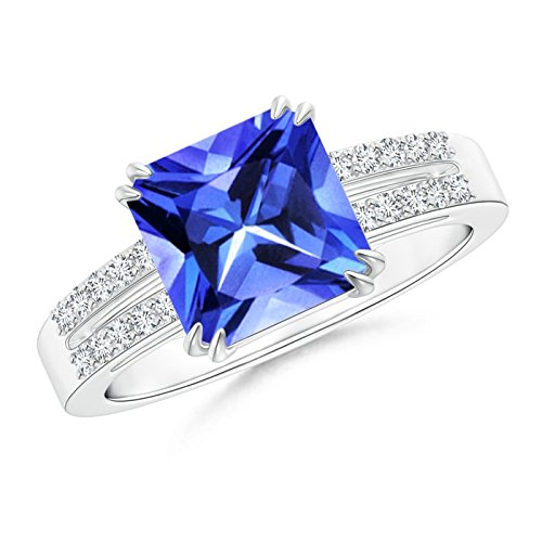 (Claw Set Emerald Cut Tanzanite Ring for Women with Diamond Accents in Platinum (8mm Tanzanite))