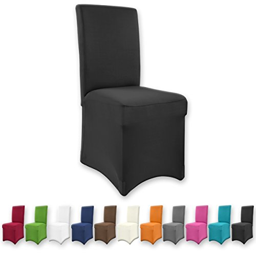 Gräfenstayn Universal-Stuhlhusse Henry in verschiedenen Farben für runde und eckige Stuhllehnen (Schwarz)