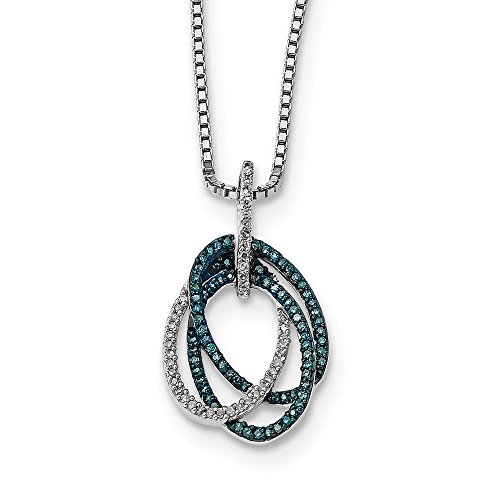 925 Sterling Silver (0.27cttw) Blue and White Diamond Triple Oval Pendant (22mm x 13mm)