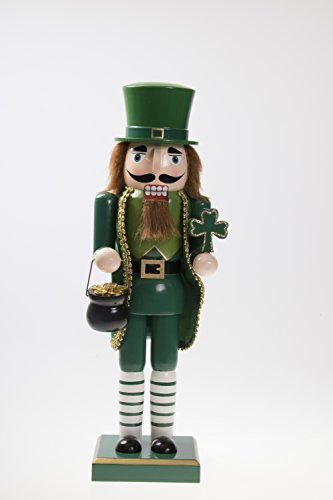 (Clever Creations Traditional Irish Wooden Christmas Nutcracker Festive Holiday Decor | Wearing Green Holding Shamrock and Pot of Gold | Luck of The Irish | 100% Wood | 14