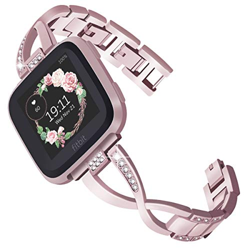 - KADES for Fitbit Versa Band for Women, Jewelry Bracelet Metal Replacement Band Compatible for Fitbit Versa Smart Watch (Rose Gold)