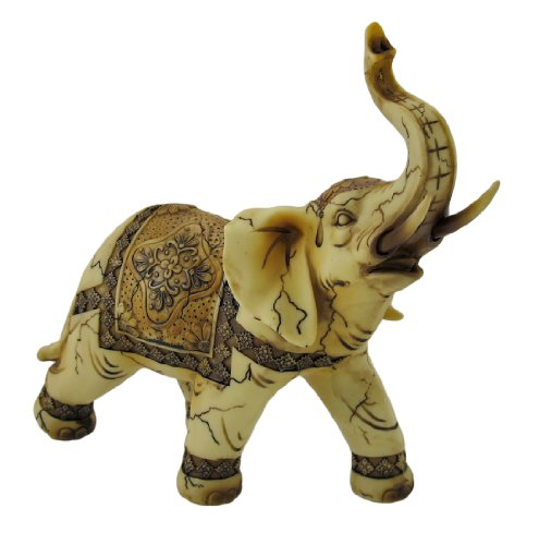 Trunk Up Good Luck Ivory Elephant Statue Figurine Collectible 7.75