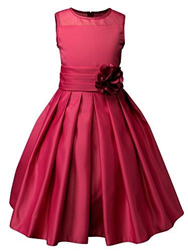 Spring Notion Big Girls Sheer Neckline Satin Tea Length Flower Girl Dress Red Size 6 ()
