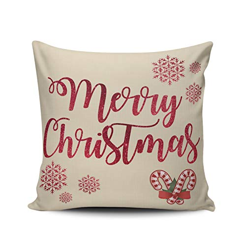 DOUMIFA Home Throw Pillow Case Red Merry Christmas Candy Cane Square Decorative Pillowcase Cushion Cover Both Sides Same Colored Printing 24X24 inch (1-Pack)
