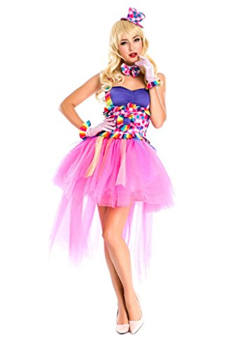PINSE Ladies Circus Jester Clown Fancy Dress Princess