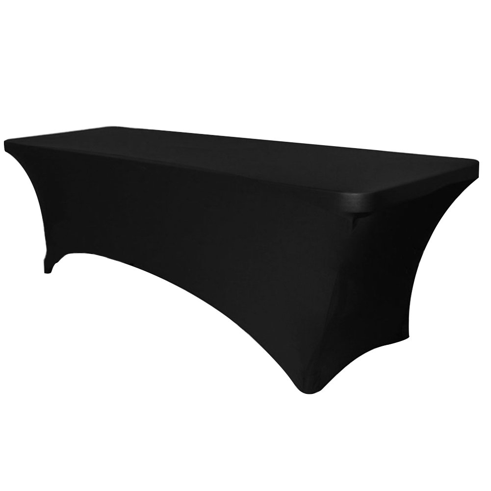 Surmente Tablecloth 6 ft. Rectangular Spandex Table Cover Tight for Weddings, Banquets, or Restaurants (Black)