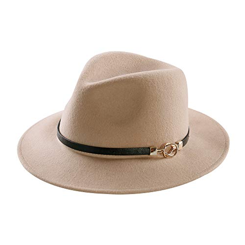 Ladies Leather Hats (Mostyleo Womens Fedora Hat 100% Wool Felt Hats Winter Trilby Cap Wide Brim with Leather Belt Decor (Camel))