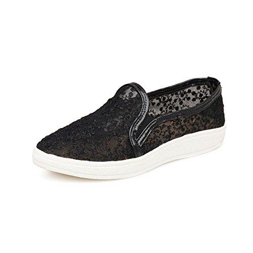 Minivog Womens Mesh Flats Loafer Casual Schoenen Zwart