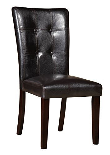 (Homelegance 2544S Bi-Cast Vinyl Tufted Dining Chair, Dark Brown, Set of 2)