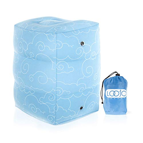 LOOJO Travel Inflatable Airplane Foot Rest Pillow. Adjustable Height. Comfy Blow Up Travel Accessories for Kids and Adults. Computer and Under Desk Leg Rest. Portable Sleep, Flight and  Car Cushion